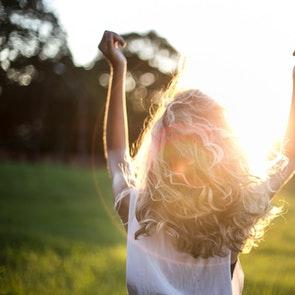 Blonde woman in the sun